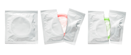 Condom pack isolated on white background