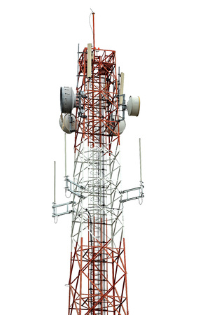 Signal tower for communication industrial isolated on white background Banco de Imagens