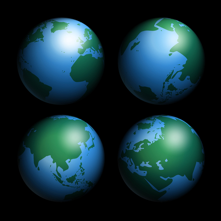 Earth globes isolated on black background, 3D vector illustration.