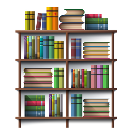 Book on wooden wall shelf isolated on white in illustration vector icon design  イラスト・ベクター素材