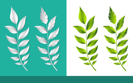 Sprout of plant leaf in illustration vector paper cut style