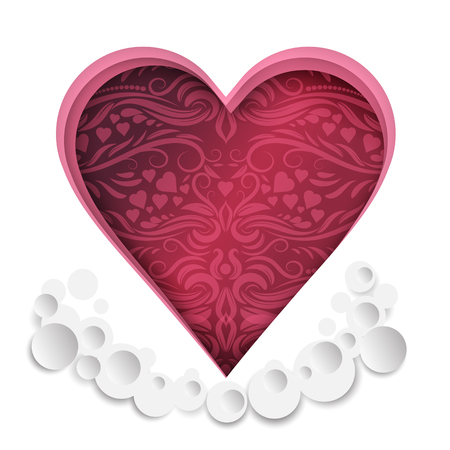 Heart paper cut with pattern for valentine's day element, vector illustration