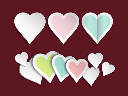 Heart paper art set for element of valentine's day design, vector illustration