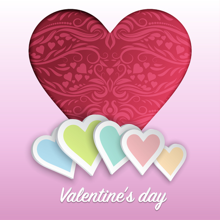 Heart shape with pattern in paper cut style for happy valentine's day, vector illustration