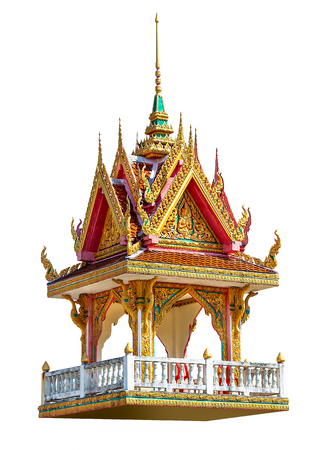 Golden bell tower pavilion in Thai style isolated on white background with clipping path Foto de archivo