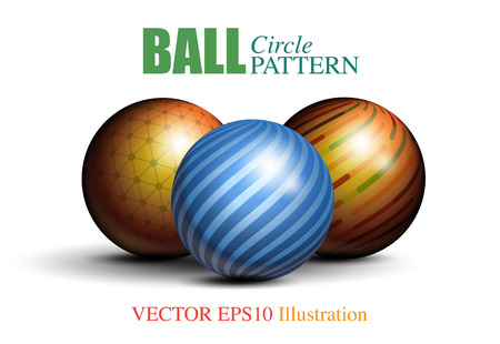 Pattern on 3D circle ball, vector illustration graphic