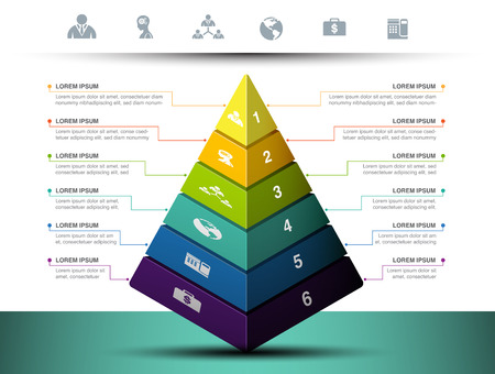 Pyramid graph with icon and symbol for business infographic, vector illustration graphic