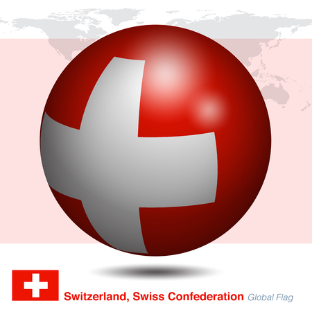 Switzerland, Swiss Confederation global flag, 3D vector illustration graphic template