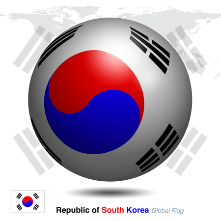 Republic of south Korea global flag, 3D vector illustration graphic template