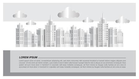Cityscape paper art style, vector illustration graphic