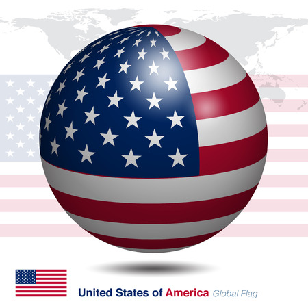 3D USA global flag, vector illustration graphic template