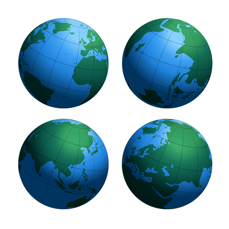 Earth globes world map, vector illustration