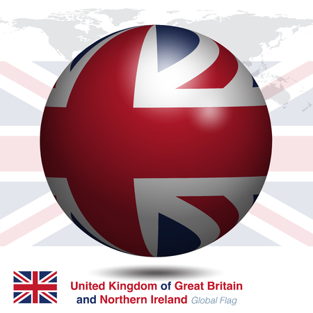 3D United Kingdom of Great Britain and Northern Ireland, UK, global flag, vector illustration graphic template