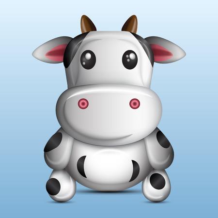3D cute cow, vector illustration graphic  イラスト・ベクター素材