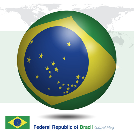 Federal Republic of Brazil global flag, 3D vector illustration graphic template