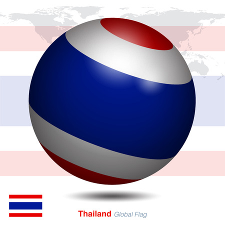Thailand global flag, 3D vector illustration graphic template