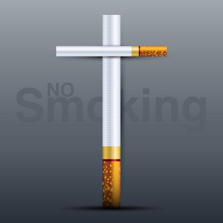 Cross cigarette symbol in cemetery, 3D vector illustration