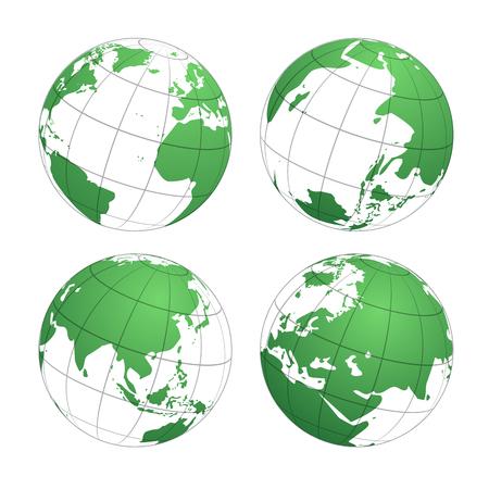 Earth globes world map, vector illustration