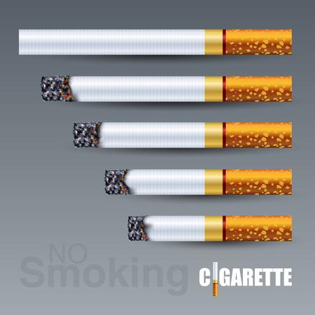 Schritt des brennenden Zigarettensatzes in verschiedenen Stadien, 3D-Vektorillustration