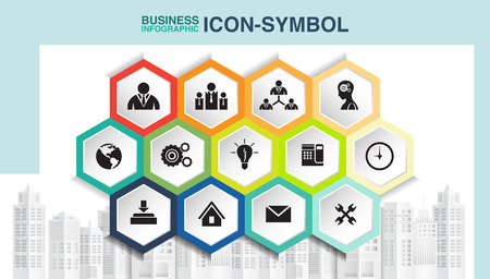 Business icon in hexagon banner, vector illustration graphic