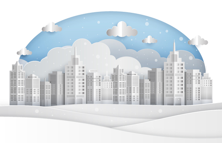 Winter cityscape in paper art style, vector illustration graphic Çizim