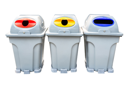 Recycle rubbish bin group isolated on white background with clipping path 写真素材