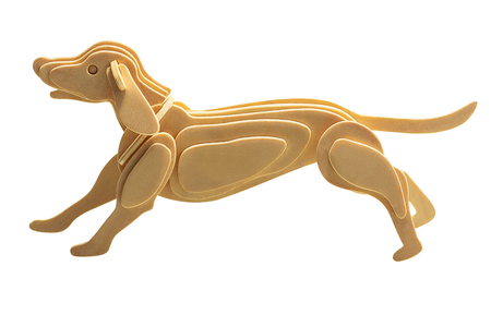 Wooden dog in wood art style for decoration isolated on white background with clipping path