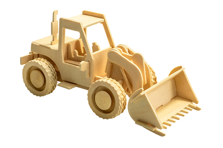 Wooden backhoe excavator and bulldozer in wood art style for decoration isolated on white background with clipping path 写真素材