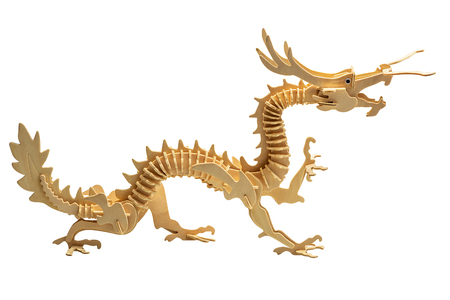 Wooden dragon in wood art style for decoration isolated on white background with clipping path