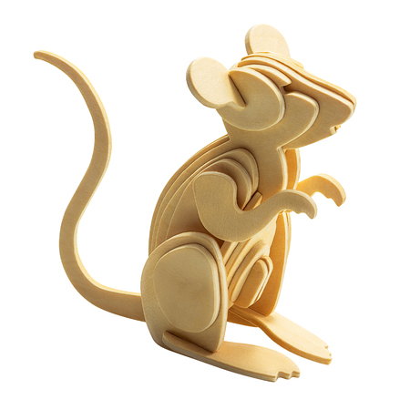 Wooden rat in wood art style for decoration isolated on white background with clipping path