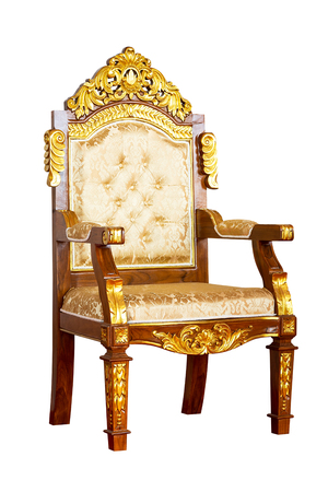 Ancient luxury golden chair isolated on white background with clipping path 写真素材