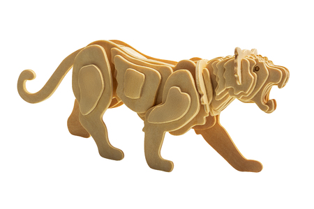 Tiger in wooden art style isolated on white background with clipping path 写真素材