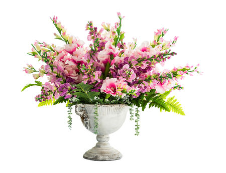 Bouquet of flower in vintage vase for home decoration isolated on white background with clipping path