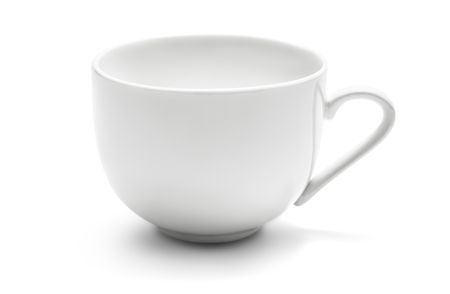 Empty and clean ceramic coffee cup isolated on white background with clipping path 写真素材