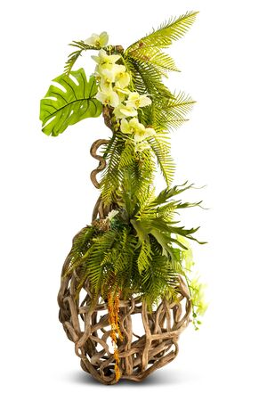 Flower bouquet on creative vine creeping plant stand for decoration isolated on white background Stock Photo