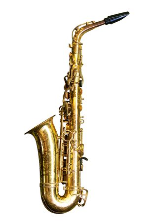 Old saxophone isolated on white background with clipping path 写真素材