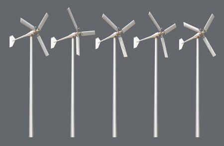 Group of wind turbine isolated on grey background