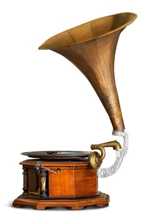 Antique gramophone vinyl record player isolated on white background with clipping path 스톡 콘텐츠