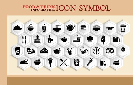 Food and drink icon set, kitchen utensils, flat simple design, vector illustration