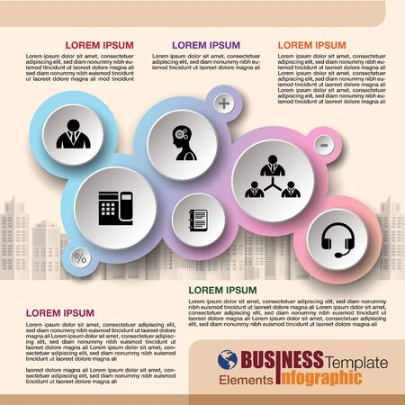 Business infographic template design with flat icon and symbol element, vector illustration