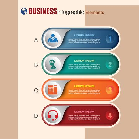 Business infographic elements with flat icon and symbol design, web button, vector illustration Stock fotó