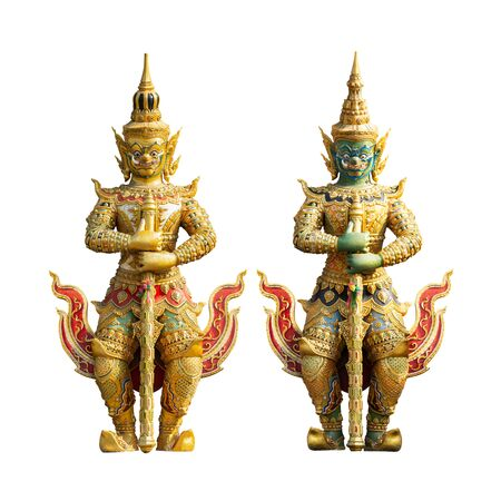 Giant statue, character in Thai fairy tale for public temple decoration on white background