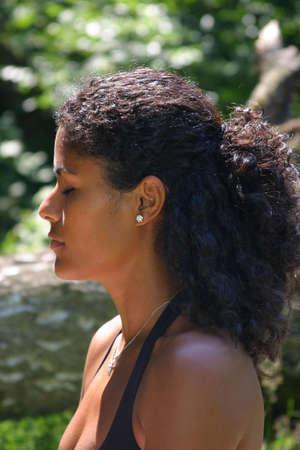 Beautiful brazilian woman concentrating