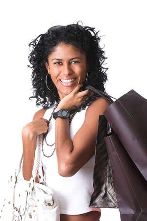 going out: bella bruna uscire shopping, gi� in varie borse per la spesa