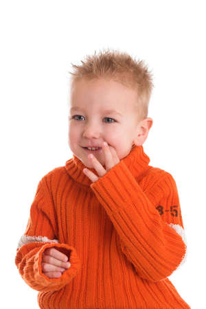Young blond boy on white background being a little shy Stock Photo - 837447