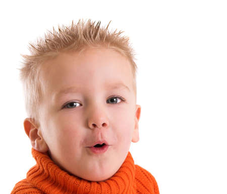 two year old: Two year old boy with a funny face Stock Photo