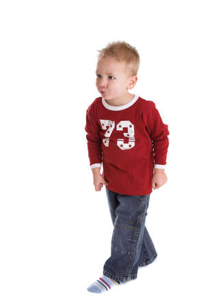 two year old: Cute two year old walking with a purpose