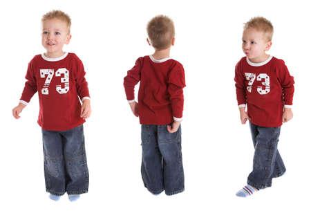 Cute young boy in threefold photo