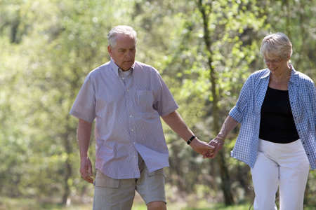 Elderly couple walking hand in hand on a stroll through the parc Stock Photo - 888623