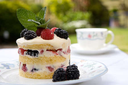 sumptuous: Beautifully decorated dessert served outdoors on a plate in the garden